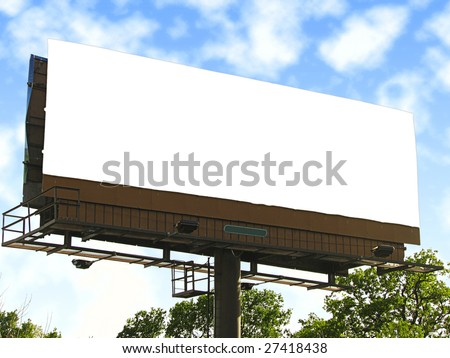Large blank white billboard. - stock photo