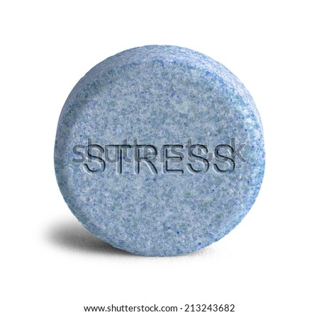 Large Blue Stress Pill Isolated on White Background. - stock photo