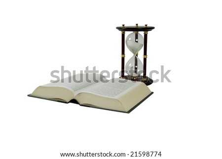 Large book, Hour glass used to measure time