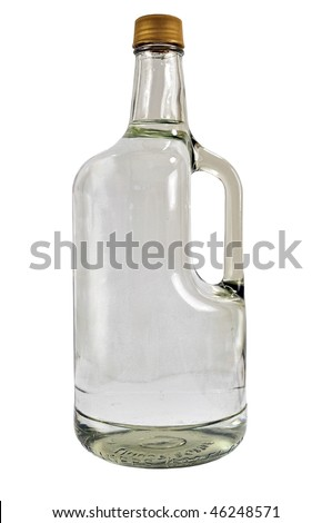 Large bottle of Russian vodka, isolation on a white background - stock photo