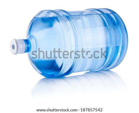 Large bottle of water lies on one side isolated on white background - stock photo