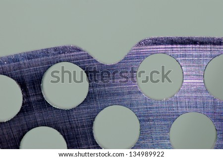 large brake disc surface up macro perforated by mountain-bike - stock photo
