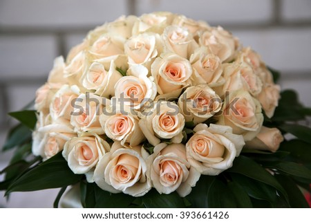 large bridal bouquet of white roses