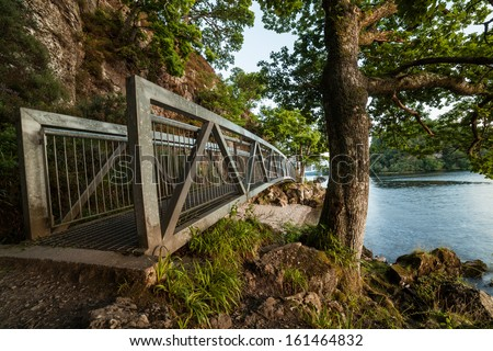 Large bridge along footpath at Balmaha, Loch Lomond, Scotland - stock photo