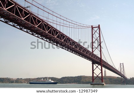 Large bridge over tagus river in Lisbon - stock photo