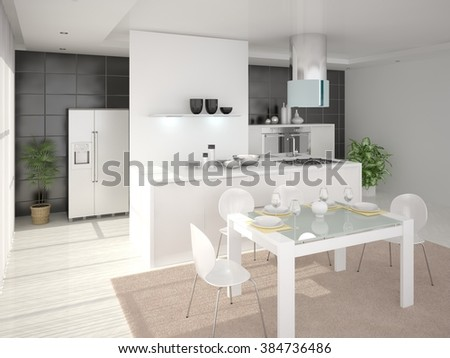 Large bright kitchen with modern furniture, 3d rendering.