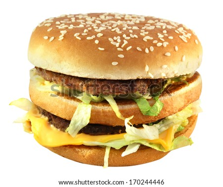 large bright tasty burger on a white background