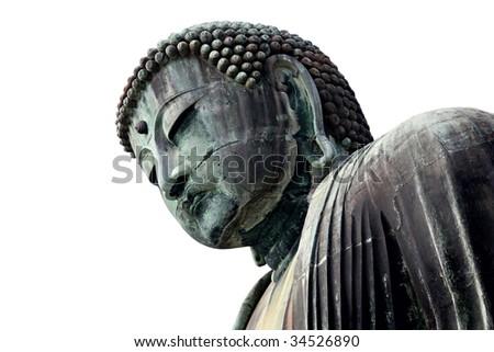 Large bronze statue of Buddha from Kamakura (Japan). - stock photo