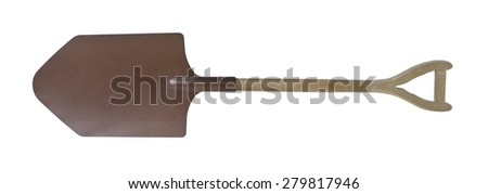 Large Brown Metal Shovel with Wooden Handle for digging holes - path included - stock photo