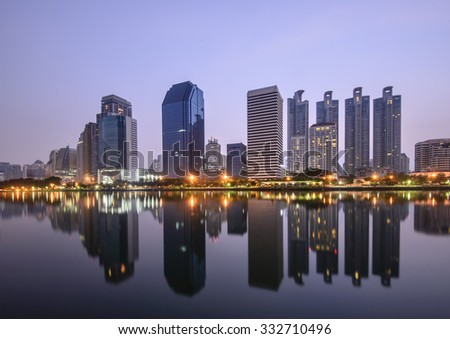 Large buildings cityscape in Bangkok , Thailand .