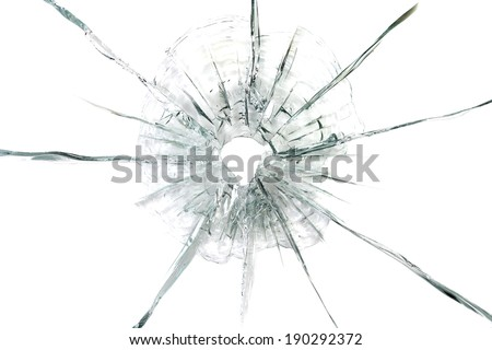 large bullet hole in glass abstract background - stock photo