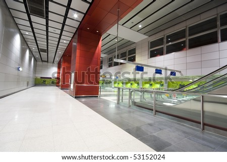 large business hall in modern building. - stock photo