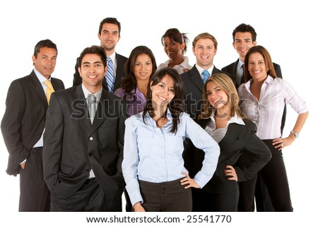 Large business team isolated over a white background - stock photo