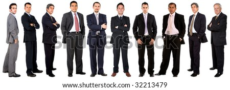 Large business team of men isolated over white