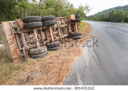 Large car accident on the road. - stock photo
