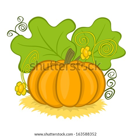 Large cartoon pumpkins on hay, with green leaves and curls - stock photo