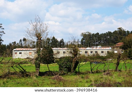 Large chicken barn in rural area surrounded by grass fields and vineyards