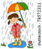 Large childlike cartoon character: little girl with a big smile holding an umbrella and playing in the rain by stepping into a puddle with her rubber boots. - stock photo