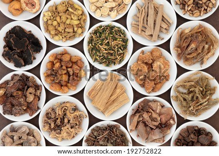Large chinese herbal medicine selection in white china bowls. - stock photo