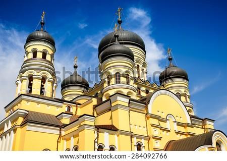 Large Christian Orthodox Church in the Hancu Monastery, Republic of Moldova - stock photo