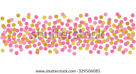 Large Circles Pink And Gold Confetti Border Illustration Bright Sparkle Design Element For Tags