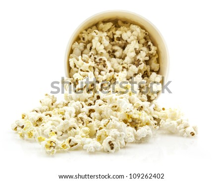 Large classic box of theater popcorn isolated on white - stock photo