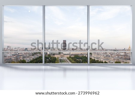 large clean designer office window to skyline illustration - stock photo