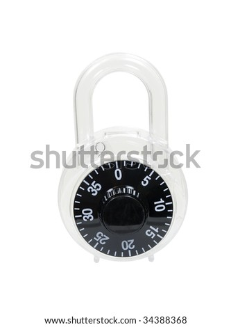 Large closed padlock used to lock items to keep them secure - path included