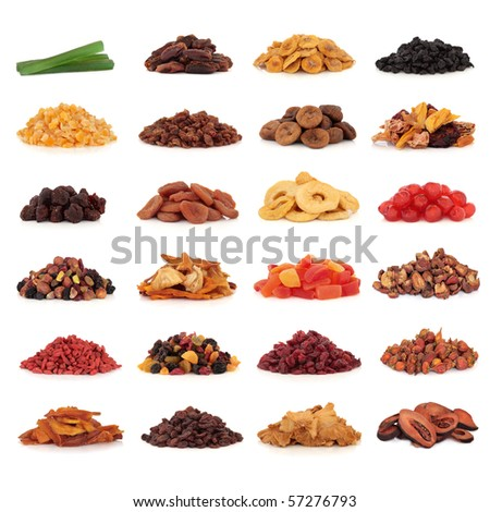 Large collection of dried and candied fruit for snacks and culinary use, isolated over white background. - stock photo
