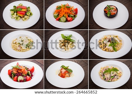 large collection of italian pasta recipe - stock photo