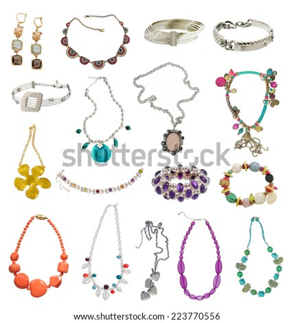 large collection of neckalces isolated on white - stock photo