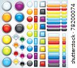 Large collection of shiny bars, buttons, knobs, keys - ready for your design - stock vector