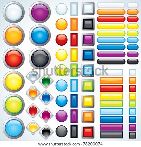 Large collection of shiny bars, buttons, knobs, keys - ready for your design