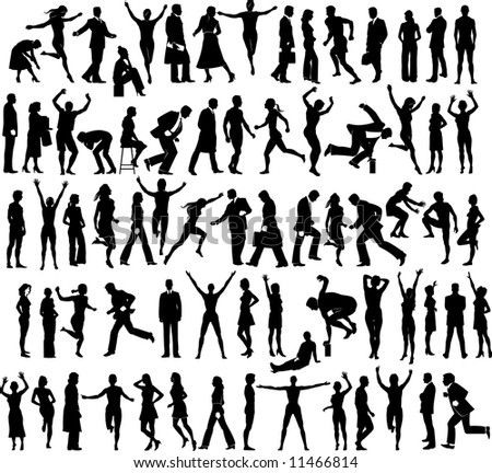 Large collection of silhouetted people in various activities.  Also available in vector format
