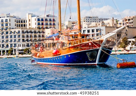 Large colourful sailing ship in Malta on a sunny day - stock photo