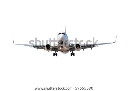 Large commercial airplane flying overhead either after departure or landing isolated on white. - stock photo
