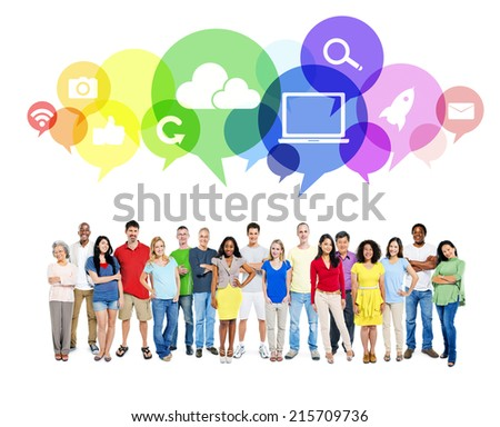 Large Community of Social Networking - stock photo