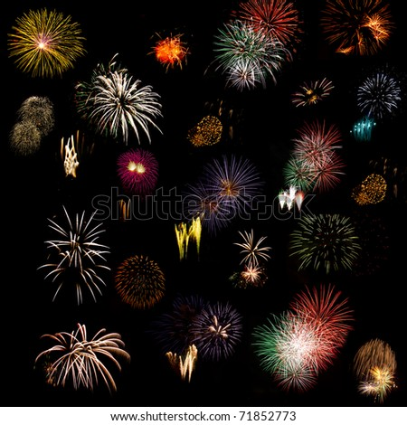 Large composite  of different fireworks taken during an event in Italy - stock photo