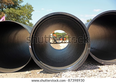 Large Concrete Construction Pipes for Underground Water - stock photo