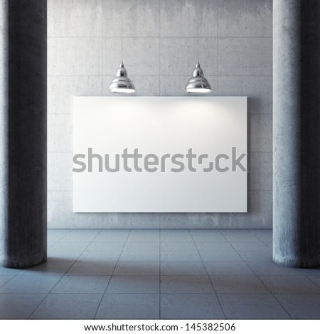 Large concrete hall with advertising billboard and illumination lamp - stock photo