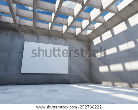 Large concrete hall with empty billboard. 3D render. - stock photo