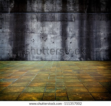 Large concrete wall and floor. - stock photo