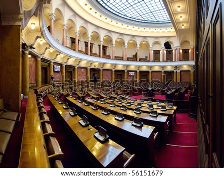 Large conference hall in Serbian Parliament building - stock photo