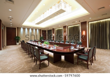 Large conference room in hotel - stock photo