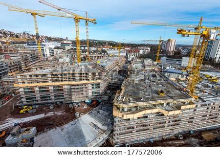 Large construction site - stock photo