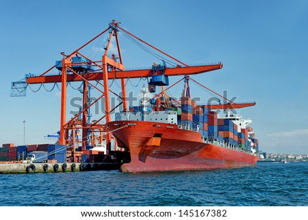 Large container ship in a dock at port, Haydarpasa, Istanbul, Turkey - stock photo