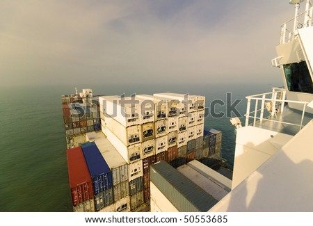 large container ship under way at sea (no trademarks visible) - stock photo