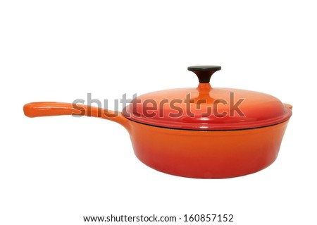 large cooking pot with a handle on a white background - stock photo