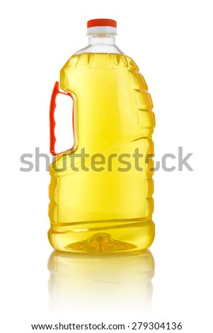 Large Corn Cooking Oil Bottle Isolated on White Background - stock photo