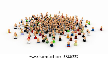 Large crowd made of small symbolic 3d figures - stock photo